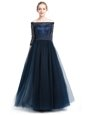 Off the Shoulder Floor Length Zipper Mother Of The Bride Dress Navy Blue and In for Prom and Party with Beading and Appliques