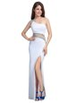 Custom Made One Shoulder Sleeveless Floor Length Beading Side Zipper with White