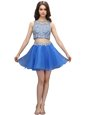 Mini Length Zipper Prom Gown Blue and In for Prom and Party with Beading