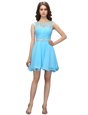 Delicate Baby Blue Bateau Zipper Beading and Ruching Prom Dresses Sleeveless