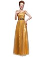 Excellent Scoop Gold Empire Beading and Sequins and Belt Dress for Prom Zipper Sequined Cap Sleeves Floor Length