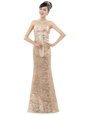 Sleeveless Floor Length Appliques Zipper Prom Dress with Champagne