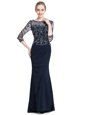 Wonderful Navy Blue 3|4 Length Sleeve Chiffon Zipper Mother Of The Bride Dress for Prom and Party