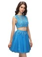 Elegant Mini Length Baby Blue Prom Party Dress Tulle Sleeveless Beading and Appliques