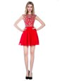 Captivating Empire Dress Like A Star Red High-neck Tulle Sleeveless Mini Length Zipper