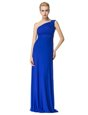 Great Scoop Floor Length Royal Blue Evening Dress Organza Sleeveless Beading and Lace