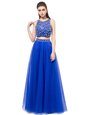 Super Scoop Royal Blue Two Pieces Beading Prom Gown Lace Up Tulle Sleeveless Floor Length