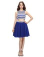 Scoop Sleeveless Knee Length Beading Backless Cocktail Dresses with Royal Blue