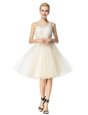 Scoop Champagne A-line Beading Cocktail Dresses Zipper Organza Sleeveless Knee Length