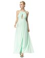 Stunning Light Blue Zipper Scoop Beading Prom Party Dress Silk Like Satin Sleeveless Sweep Train