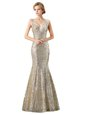 Lovely Mermaid Champagne Zipper Dress for Prom Sequins Sleeveless Floor Length