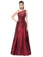 Sleeveless Elastic Woven Satin Floor Length Side Zipper Celebrity Dresses in Burgundy for with Beading and Bowknot