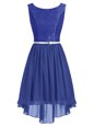 Blue Homecoming Dress Prom and Party and For with Lace and Belt Scoop Sleeveless Side Zipper