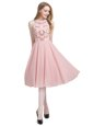 Scoop Sleeveless Chiffon Knee Length Zipper Prom Gown in Pink for with Beading