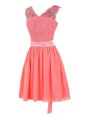 Watermelon Red V-neck Zipper Lace and Sashes|ribbons Dress for Prom Sleeveless