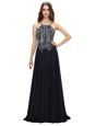 Most Popular Sleeveless With Train Beading Zipper Runway Inspired Dress with Black Brush Train