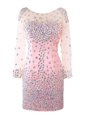 Inexpensive Pink Prom Dress Prom and Party and For with Beading Scoop Long Sleeves Zipper
