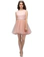 Captivating Scoop Sleeveless Mini Length Beading and Lace Zipper Prom Dress with Pink