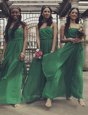 Sleeveless Chiffon Floor Length Zipper Homecoming Dress in Green for with Ruching