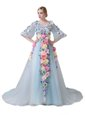 Light Blue Tulle Zipper Evening Dress Half Sleeves With Train Court Train Hand Made Flower