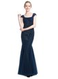 Fashionable Mermaid Floor Length Zipper Prom Dresses Navy Blue and In for Prom and Party with Beading