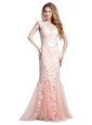 Beautiful Scoop Cap Sleeves Brush Train Zipper Prom Evening Gown Pink Tulle