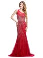 Customized One Shoulder Red Tulle Zipper Evening Dress Sleeveless With Brush Train Beading