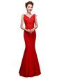 Dynamic Floor Length Red Runway Inspired Dress Lace Sleeveless Lace