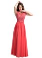 Admirable Scoop Beading Formal Evening Gowns Watermelon Red Zipper Cap Sleeves Floor Length