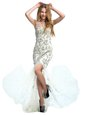 Luxury Scoop Sleeveless Prom Evening Gown With Brush Train Beading White Tulle