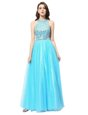 Scoop Aqua Blue Sleeveless Floor Length Beading Zipper Homecoming Dresses