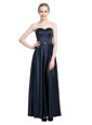 Black Zipper Sweetheart Beading Prom Evening Gown Satin Sleeveless