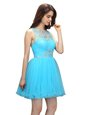 New Style Aqua Blue Zipper Scoop Beading Prom Gown Organza Sleeveless