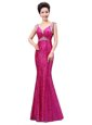 Deluxe Sleeveless Zipper Floor Length Sequins Prom Party Dress