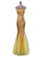 Mermaid Sequined Strapless Sleeveless Zipper Sequins Celebrity Dress in Gold