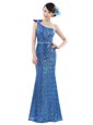 Blue Column/Sheath One Shoulder Sleeveless Sequined Floor Length Zipper Sequins Prom Party Dress