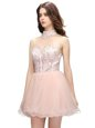 Cheap Pink Sleeveless Organza Zipper Dress for Prom for Prom and Party