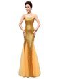 High End Gold Mermaid Sequins Prom Gown Zipper Sequined Sleeveless Floor Length
