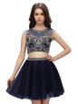 Amazing Navy Blue Scoop Neckline Beading Prom Gown Sleeveless Criss Cross