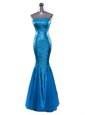 Hot Selling Blue Mermaid Sequined Strapless Sleeveless Sequins Floor Length Zipper Prom Party Dress