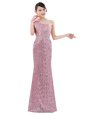 On Sale One Shoulder Sequins Floor Length Column/Sheath Sleeveless Pink Zipper