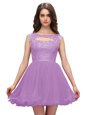 Glamorous Sleeveless Chiffon Mini Length Zipper Prom Party Dress in Lavender for with Beading