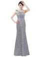 Lovely V-neck Sleeveless Dress for Prom Floor Length Beading Red Chiffon