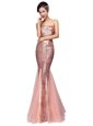Mermaid Strapless Sleeveless Prom Gown Floor Length Sequins Pink Sequined