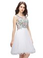 Scoop White Organza Zipper Prom Gown Sleeveless Mini Length Beading and Embroidery