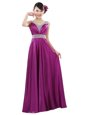 Super Fuchsia Elastic Woven Satin Zipper V-neck Sleeveless Floor Length Mother Of The Bride Dress Beading