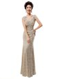 One Shoulder Champagne Zipper Prom Party Dress Beading and Sequins Sleeveless Floor Length