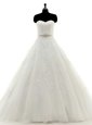 Sleeveless Tulle With Brush Train Clasp Handle Wedding Gown in White for with Beading and Lace and Appliques