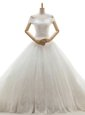 Fine Off the Shoulder White A-line Lace and Appliques Wedding Gown Lace Up Tulle Sleeveless With Train