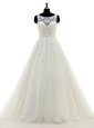 Smart Scoop Sleeveless Wedding Gown With Brush Train Lace and Appliques White Tulle